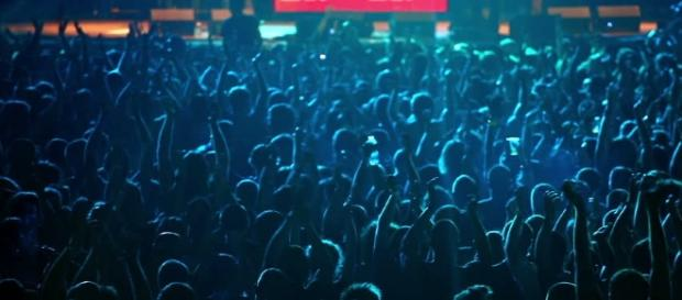 Audience Dance At Rave Party, View Fro