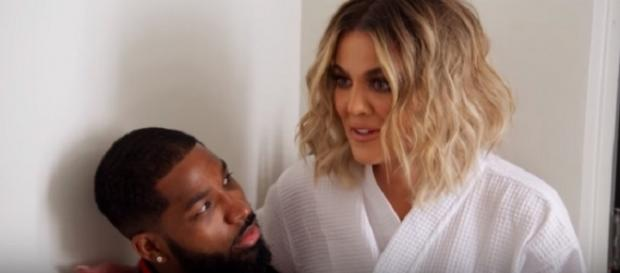 Khloe Kardashian and Tristan Thompson. (Image via E!/YouTube screengrab)