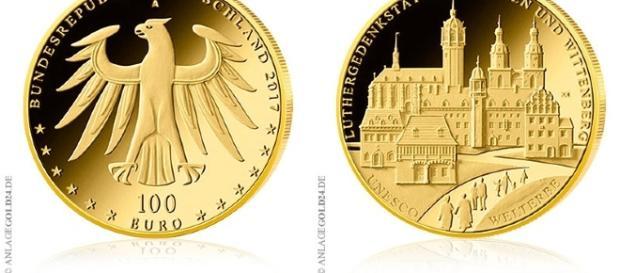 100 Euro Goldmünze Luthergedenkstätten Eisleben und Wittenberg 2017 Deutschland