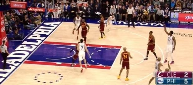 Joel Embiid has developed a nice three-point shot for the Philadelphia 76ers -- Youtube screen capture / NBA