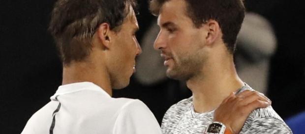 Rafael Nadal vs Grigor Dimitrov em um jogo da Australian Open
