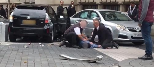 11 people were injured when a car plowed into them near London's Natural History Museum [Image: YouTube/Guardian Wires]