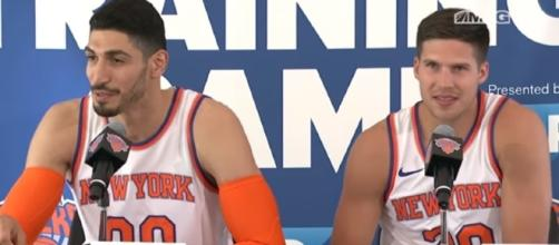 New York Knicks players Enes Kanter and Doug McDermott getting interviewed. -- Youtube screen capture / MSG