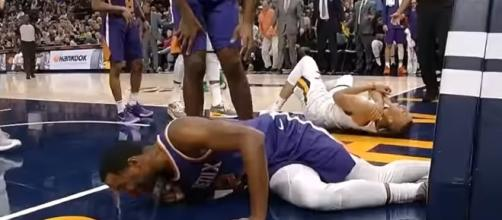 The Dante Exum injury took place during a colllission against the Phoenix Suns. -- Youtube screen capture / NBA