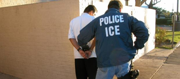 An illegal immigrant is arrested during a past raid. Photo via; www. commons.wikimedia.org
