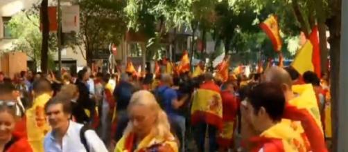 Manifestantes este domingo en Cataluña
