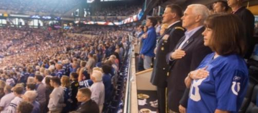 Mike Pence at NFL game, via Twitter