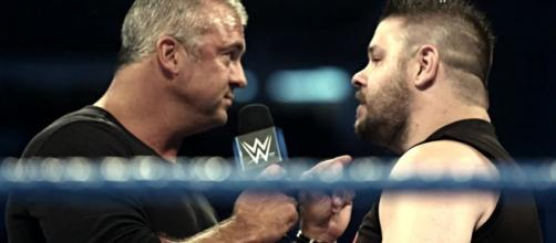 Shane McMahon battles Kevin Owens inside a Hell in a Cell structure at the latest WWE pay-per-view. [Image via WWE/YouTube]