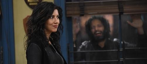 "Stephanie Beatriz's Rosa Diaz and Jason Mantzoukas' Adrian Pimento reunite next week on ""Brooklyn Nine-Nine."" (Brooklyn Nine-Nine/YouTube)"
