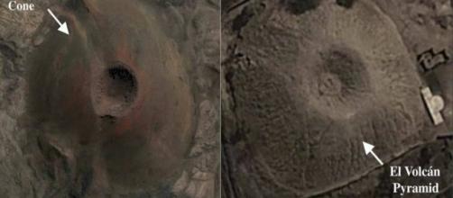 Vista aérea de la pirámide con forma de volcán