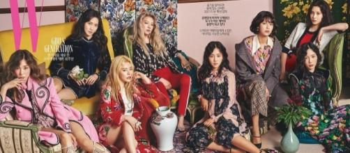 Girls' Generation on W Korea's August issue. [Image Credit: GirlsGeneration/Twitter]