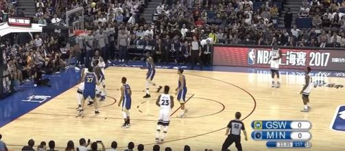 Golden State Warriors vs Minnesota Timberwolves on Oct 8, 2017 NBA Preseason; (Image Credit: Ximo Pierto/YouTube)