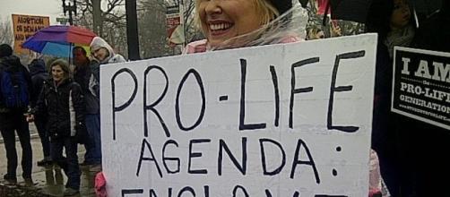 Pro-choice activist demonstrates at rally - Debra Sweet via Flickr