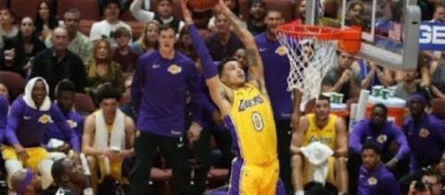 Rookie Kyle Kuzma has been the highlight of the Lakers' preseason so far. [Image via NBA/YouTube]