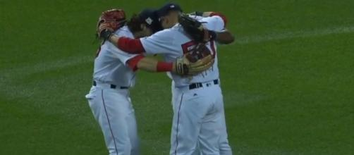 The Red Sox celebrate a Game 3 win of the ALDS against the Houston Astros. [Image via YouTube]