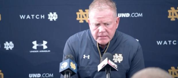Brian Kelly and the Irish are climbing the polls. [Image Credit: WatchND/YouTube]