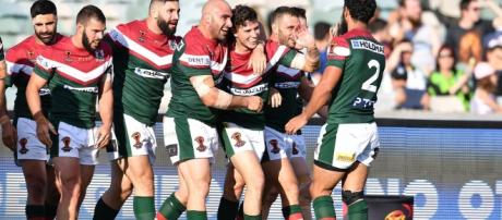 Lebanese players celebrate Mitchell Moses' try thar secured victory against the French. Image Source: The Sportsman