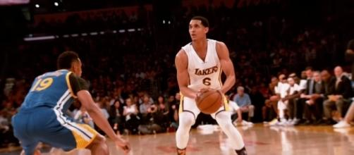 Lakers guard Jordan Clarkson could win the NBA Sixth Man of the Year Award. (Image Credit: NBA/YouTube screencap)