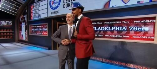 The Philadelphia 76ers selected Jahlil Okafor with the No. 3 pick in the 2015 NBA Draft -- NBA via YouTube