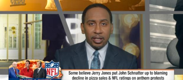 Jerry Jones behind Papa John's blaming declining pizza sales on anthem protests? | First Take |- Image credit - ESPN | YouTube