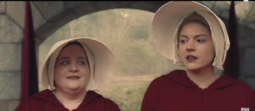 "Cecily Strong and Aidy Bryant in a 'SNL' 'Handmaid's Tale"" sketch - YouTube/Saturdaynightlive"
