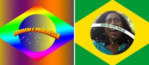 Internet cria alternativas bem-humoradas para projeto de mudança da bandeira nacional (Fotos: Reprodução/Twitter)