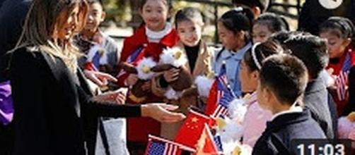 Melania Trump with children in China [Based Patriot/YouTube]