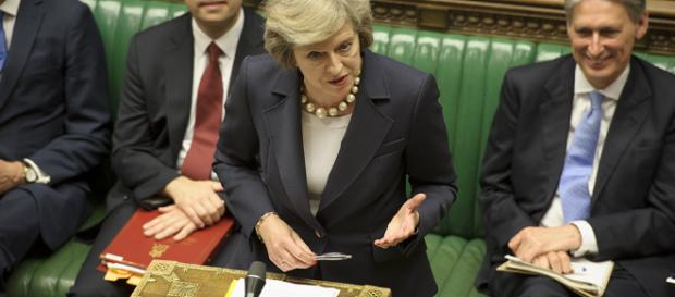 Theresa May addressing the opposition in Prime Minister Questions - UK Parliament - Flickr