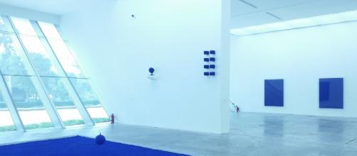 La Galería principal del MUAC teñida del Azúl Klein Internacional.