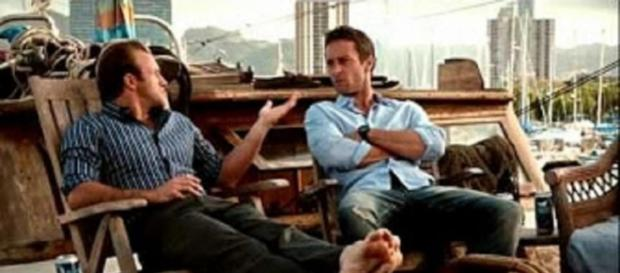 """Hawaii-Five-O"" partners Alex O'Loughlin and Scott Caan [image source: MrFTastic/YouTube]"