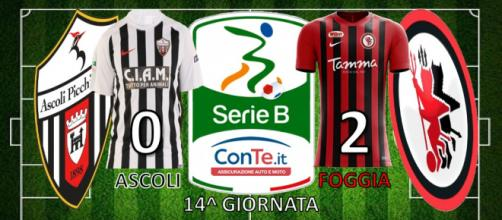 Termina 0-2 Ascoli-Foggia, match valido per la 14^ giornata del campionato di Serie B ConTe.it 2017/18