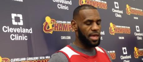 LeBron James speaking with the media. -- [Image via YouTube screen capture / Cleveland.com]