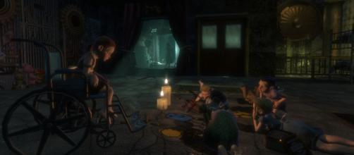 "Bioshock's creepy children, the ""Little Sisters"" [video game screen cap]"