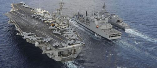 USS Theodore Roosevelt with Japanese Akizuki-class destroyer. (Image credit - Chad M. Trudeau, Wikimedia Commons)