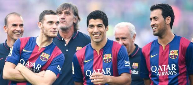 Vermaelen, junto a Suárez y Busquets en una imagen de archivo