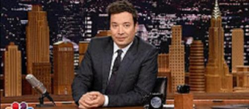 """Jimmy Fallon offers loving remembrance of his mom, Gloria, upon his """"Tonight Show"""" return this week. [Image via Tonight Show screencap/YouTube]"""