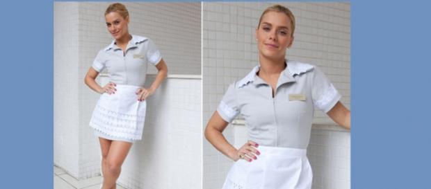 Carolina Dieckmann Teodora uniforme faxineira Fina Estampa