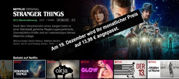Netflix zieht die Preise bis auf 13,99 Euro (UHD-Abo) pro Monat im Dezember an / Foto: Netflix Presse, Screenshot (Montage)