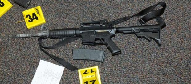 The Bushmaster XM15-E2S used in Sandy Hook mass shooting (Newtown Police, Wikimedia Commons)