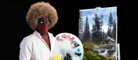 Deadpool como Bob Ross, pintor televisivo de EE.UU de The Joy of Painting