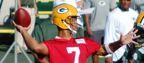 Brett Hundley at practice at Don Hudson Center. [Image credit: Kyle Engman/Flickr]