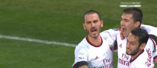 Esultanza dei giocatori del Milan