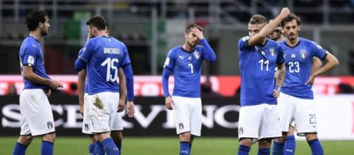 La delusione degli azzurri dopo l'eliminazione al play off Mondiale ad opera della Svezia