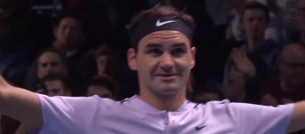 Federer celebrating a win at 2017 Nitto ATP Finals in London/ [Image ATPWorldTour/ YouTube screenshot]