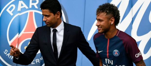 Presidente del PSG junto a Neymar