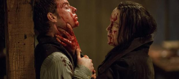 Victor Frankenstein e la sua creatura dalla serie tv Penny Dreadful