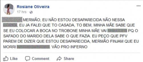 Jovem usa Facebook para dizer que não está desaparecida