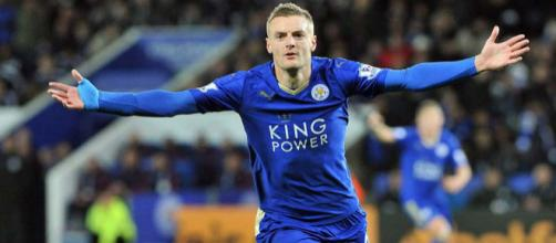 Leicester City's striker Jamie Vardy celebrates a goal in a past match. (Image Credit: LeicesterCity TigerShop/Flickr)