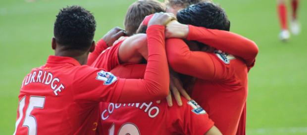 Liverpool players celebrate Philippe Coutinho's goal in the past. (Image Credit: Dean Jones/Flickr)