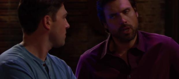 Nick and Noah find out about Chelsea's con game. (Image credit CBS_Young and Restless world view YouTube screencap).